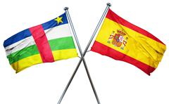 Central african republic flag with Spain flag, 3D rendering - stock illustration