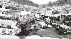 Creek with snow covered valleys, slider shot Stock Footage