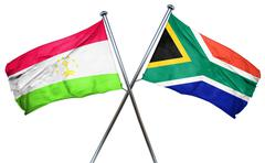 Tajikistan flag with South Africa flag, 3D rendering Stock Illustration