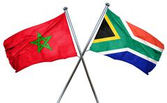 Morocco flag with South Africa flag, 3D rendering - stock illustration