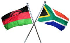 Malawi flag with South Africa flag, 3D rendering Stock Illustration