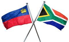 Liechtenstein flag with South Africa flag, 3D rendering Stock Illustration