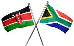 Kenya flag with South Africa flag, 3D rendering Stock Illustration