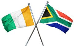 Ivory coast flag with South Africa flag, 3D rendering - stock illustration