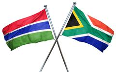 Gambia flag with South Africa flag, 3D rendering - stock illustration
