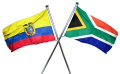 Ecuador flag with South Africa flag, 3D rendering - stock illustration