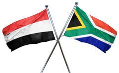 Yemen flag with South Africa flag, 3D rendering Stock Illustration