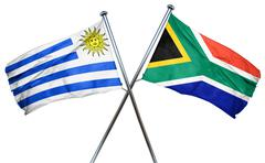 Uruguay flag with South Africa flag, 3D rendering Stock Illustration