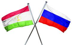 Tajikistan flag with Russia flag, 3D rendering - stock illustration