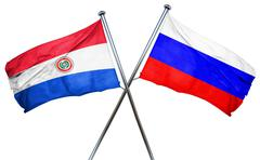 Paraguay flag with Russia flag, 3D rendering - stock illustration