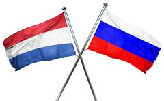 Netherlands flag with Russia flag, 3D rendering - stock illustration