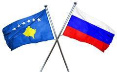 Kosovo flag with Russia flag, 3D rendering - stock illustration