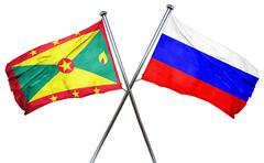 Grenada flag with Russia flag, 3D rendering - stock illustration