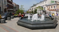 Fountains at Admiral Fokin street in Vladivostok, Russia Stock Footage