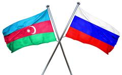 Azerbaijan flag with Russia flag, 3D rendering Stock Illustration