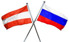 Austria flag with Russia flag, 3D rendering - stock illustration