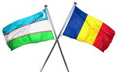 Uzbekistan flag with Romania flag, 3D rendering Stock Illustration