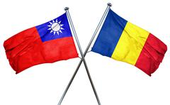 Republic of china flag with Romania flag, 3D rendering - stock illustration