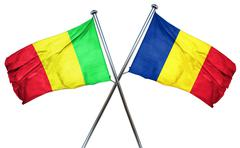 Mali flag with Romania flag, 3D rendering - stock illustration