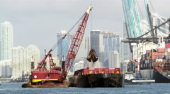 Dredging Crane Boat South Beach Miami Florida Skyline 5K Stock Video Footage Stock Footage