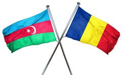 Azerbaijan flag with Romania flag, 3D rendering - stock illustration