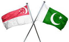 Singapore flag with Pakistan flag, 3D rendering - stock illustration