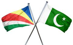Seychelles flag with Pakistan flag, 3D rendering Stock Illustration