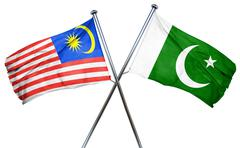 Malaysia flag with Pakistan flag, 3D rendering - stock illustration
