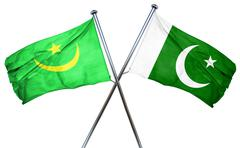 Mauritania flag with Pakistan flag, 3D rendering - stock illustration
