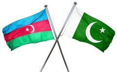 Azerbaijan flag with Pakistan flag, 3D rendering - stock illustration