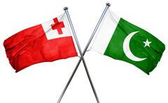 Tonga flag with Pakistan flag, 3D rendering Stock Illustration