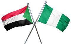 Sudan flag with Nigeria flag, 3D rendering Piirros