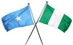 Somalia flag with Nigeria flag, 3D rendering - stock illustration