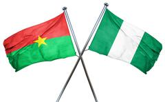 Burkina Faso flag with Nigeria flag, 3D rendering Piirros