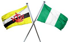 Brunei flag with Nigeria flag, 3D rendering Piirros