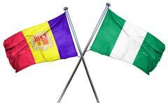 Andorra flag with Nigeria flag, 3D rendering Stock Illustration