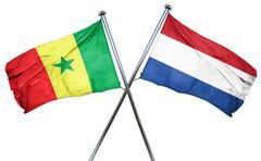 Senegal flag with Netherlands flag, 3D rendering - stock illustration