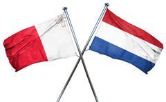 Malta flag with Netherlands flag, 3D rendering - stock illustration