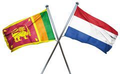 Sri lanka flag with Netherlands flag, 3D rendering - stock illustration