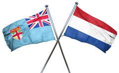 Fiji flag with Netherlands flag, 3D rendering - stock illustration