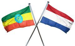 Ethiopia flag with Netherlands flag, 3D rendering Stock Illustration