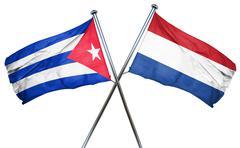 Cuba flag with Netherlands flag, 3D rendering - stock illustration