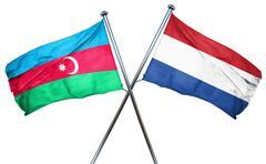 Azerbaijan flag with Netherlands flag, 3D rendering - stock illustration