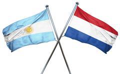 Argentina flag with Netherlands flag, 3D rendering - stock illustration