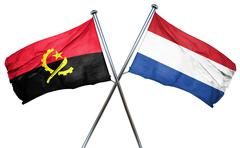 Angola flag with Netherlands flag, 3D rendering - stock illustration