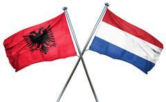 Albania flag with Netherlands flag, 3D rendering Stock Illustration