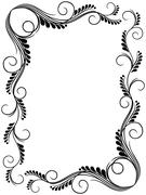 Abstract floral black and white frame Stock Illustration