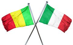 Mali flag with Italy flag, 3D rendering - stock illustration