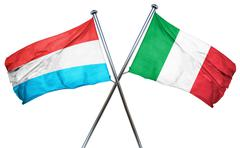 Luxembourg flag with Italy flag, 3D rendering - stock illustration
