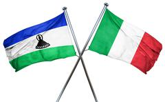 Lesotho flag with Italy flag, 3D rendering - stock illustration